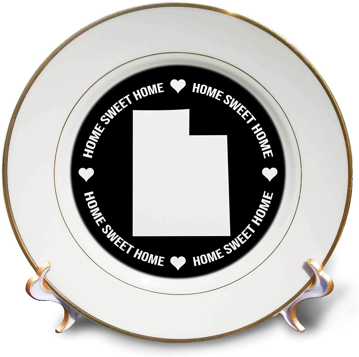3dRose Stamp City - Typography - Utah Inside a Circle of Home Sweet Home and Hearts on Black. - 8 inch Porcelain Plate (cp_324288_1)