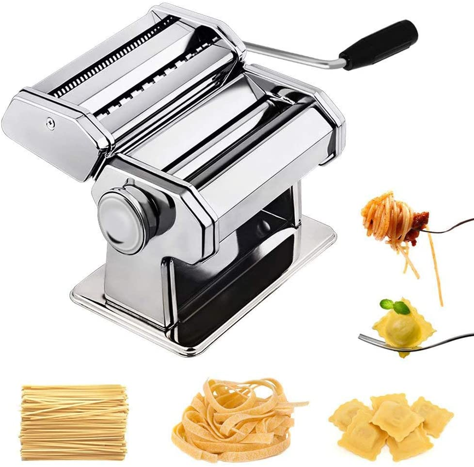 Stainless Steel Manual Pasta Machine, Home Kitchen Removable Noodle Cutter, Gift Set for Spaghetti and Lasagna Tagliatelle Fettuccine