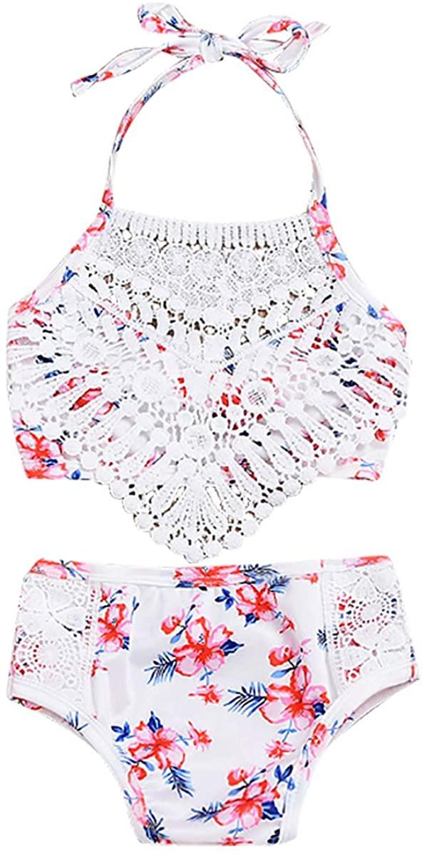 MSemis Toddler Girls Halter Floral Tassel Bikini Top with Bottoms Swimsuit Bathing Suit Beachwear