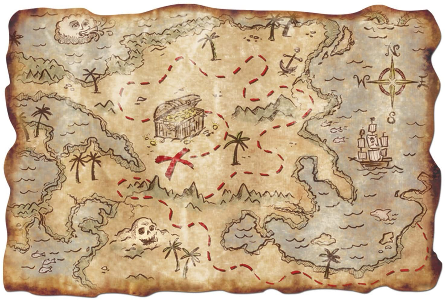 Plastic Treasure Map Party Accessory (2-pack)