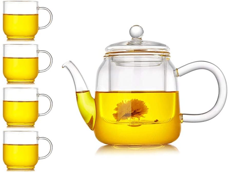 KFDQ Household Glass Kettle,Teapot Kettle Glass Tea Set Elegant Cup Thick Teapot Heat-Resistant Household Teapot Office Tea Ceremony Cup with Filter Tea Cup with Tea Tray,C