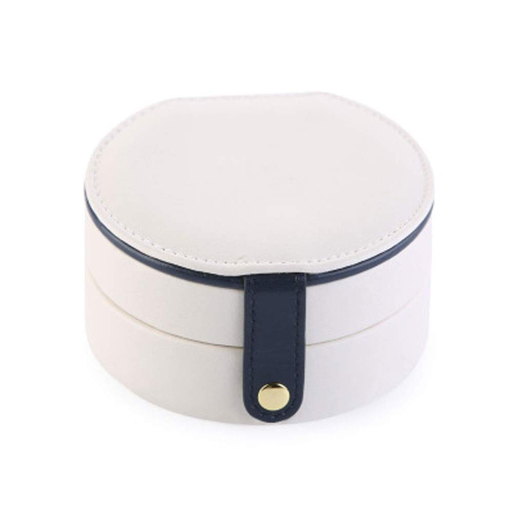 Jewelry box Three-layer portable jewelry box Leather earrings earrings jewelry storage box finishing storage collection display decorative box H12/20 (Color : White)