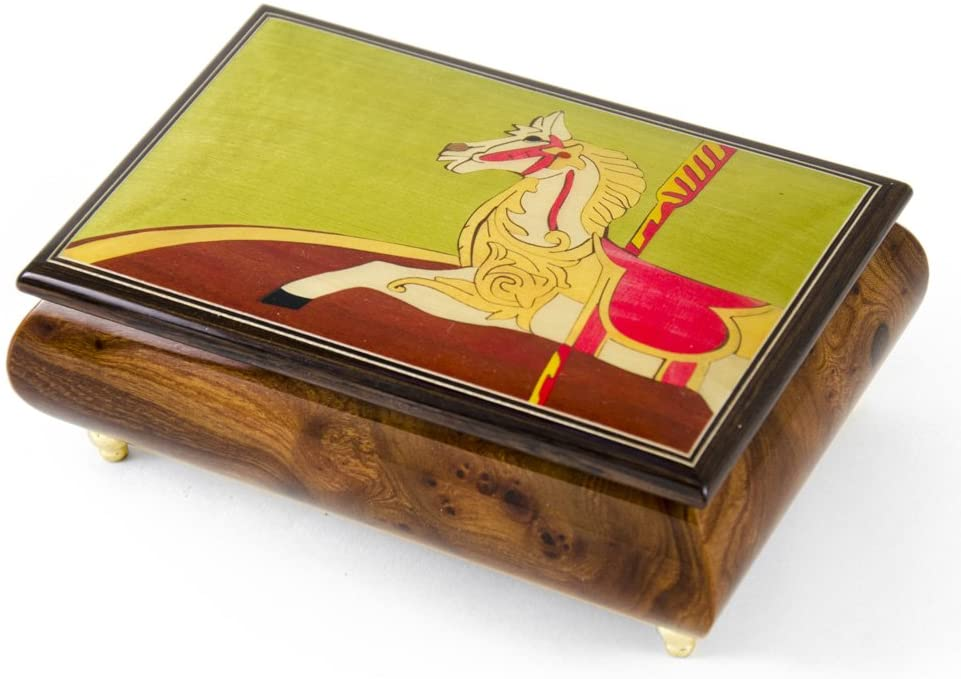 Handcrafted 18 Note Carousel Horse Wood Inlay Musical Jewelry Box - Many Songs to Choose - Ail My Loving