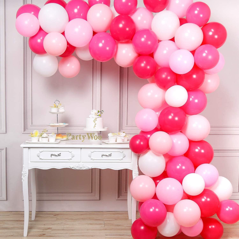 PartyWoo Balloons Pink, 100 pcs 12 in Fuchsia Balloons, White Pink Balloons, Pale Pink Balloons, Hot Pink Balloons, Pink Shade balloons for Pink Baby Shower, Pink Birthday, Pink Wedding, Pink Sweet 16