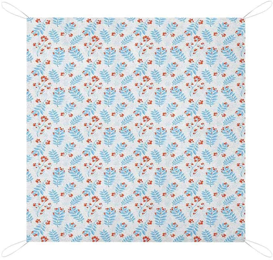 Nomorer Winter Picnic Blankets, Seasonal Ash Berry and Blue Toned Foliage Leaves Snowflake Background Custom Picnic Mat, 80 x 57, Pale Blue Vermilion White