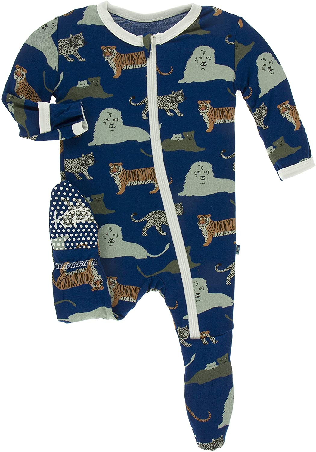 KicKee Pants Print Footie with Zipper (Flag Blue Big Cats - 6-9 Months)