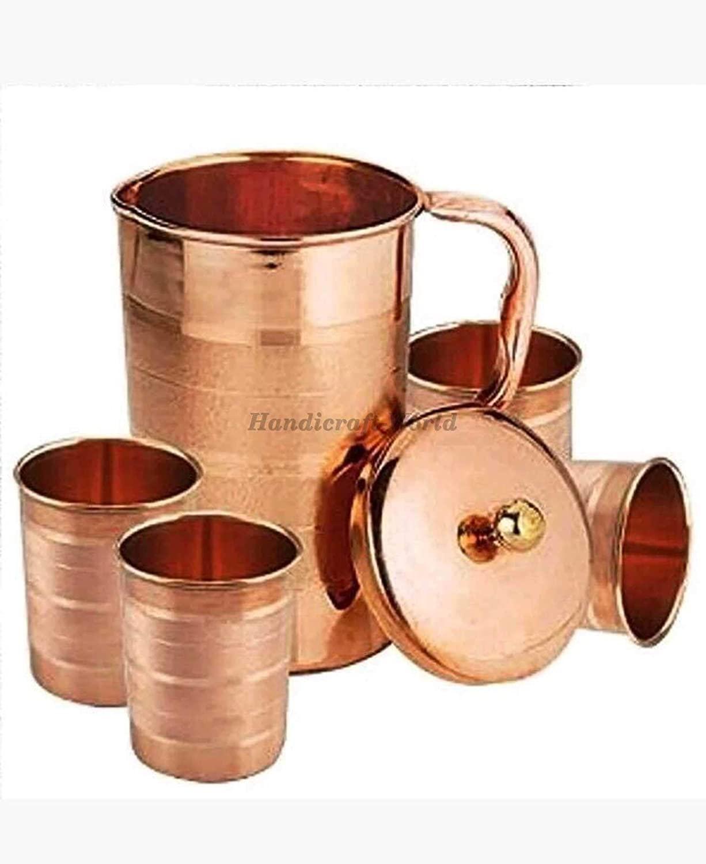 Handicraft-World Indian Hammered Copper Water Jug Health Benefits 1000 ML 4 Glass