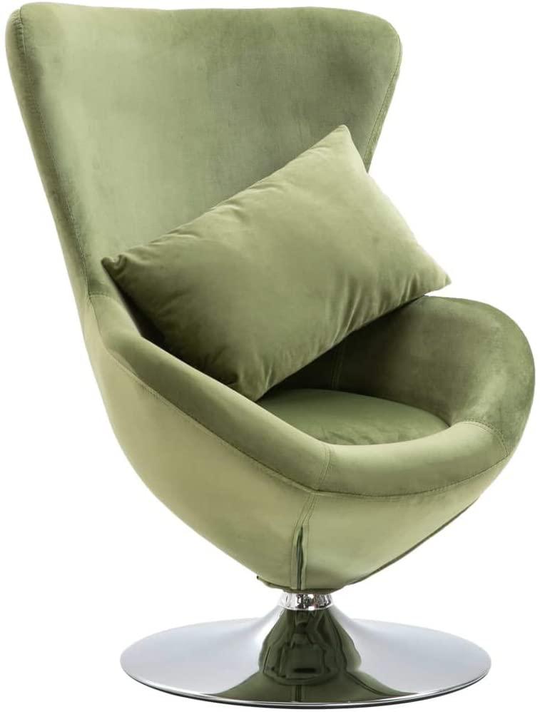 Unfade Memory Swivel Elegant Egg Chair with Cushion Velvet Style and Comfort (Light Green)