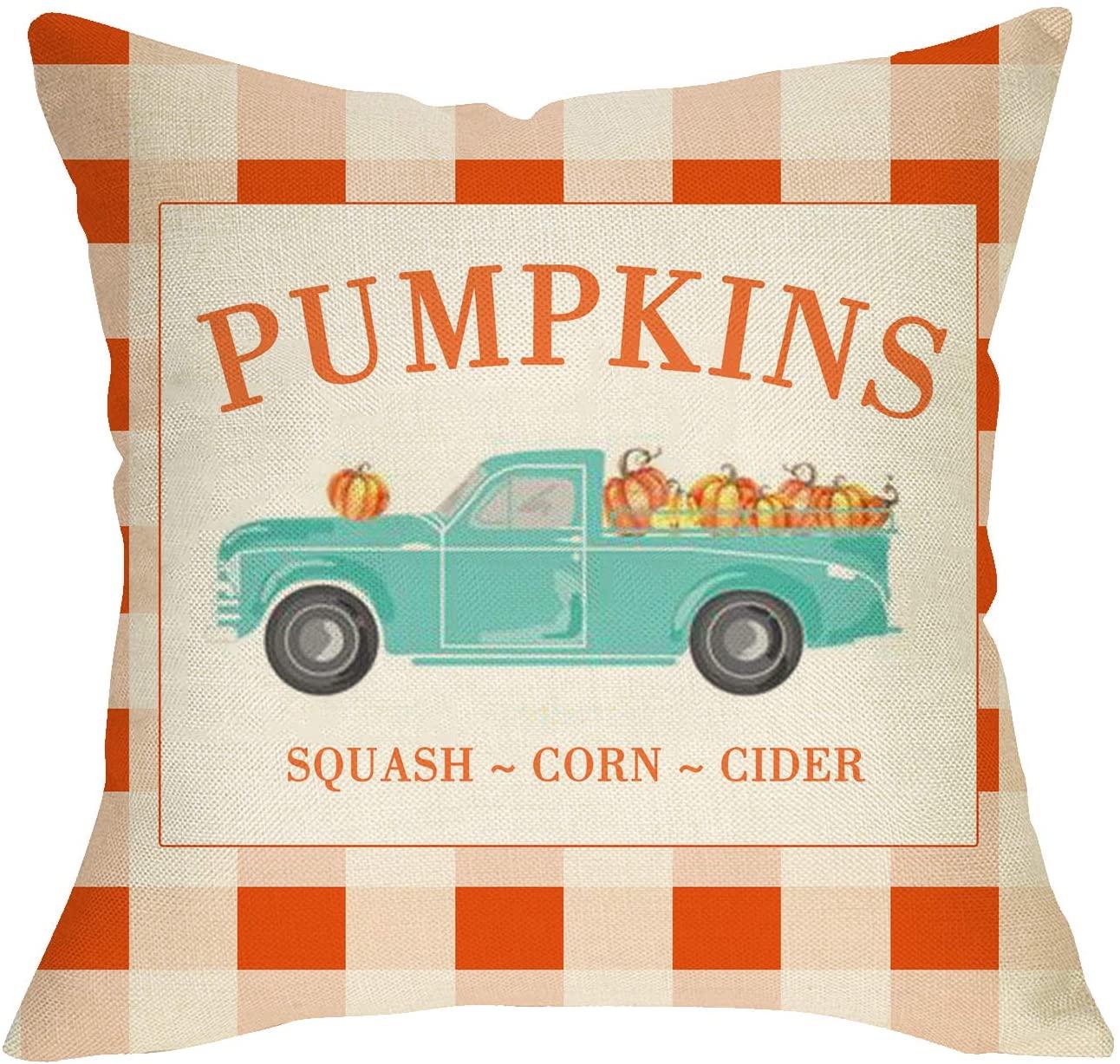 Fbcoo Pumpkins Truck Throw Pillow Cover Farmhouse Decorative Cushion Case Buffalo Plaid Check Autumn Home Decorations Fall Square Pillowcase Thanksgiving Decor for Sofa Couch 18 x 18 Inch Cotton Linen