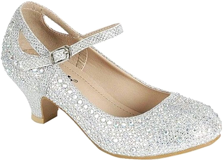 Link Jemma-02K Girls Youth Pageant Jewel Rhine Stone Mary Jane High Heel Dress Shoes