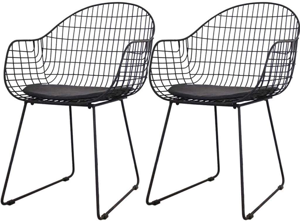 QTQZDD Nordic Hollow-Out Barbed Wire Dining Chair - Personality Leisure Restaurant Living Room Chair - Stainless Steel Metal Frame with Pu Leather Cushion - Set of 2