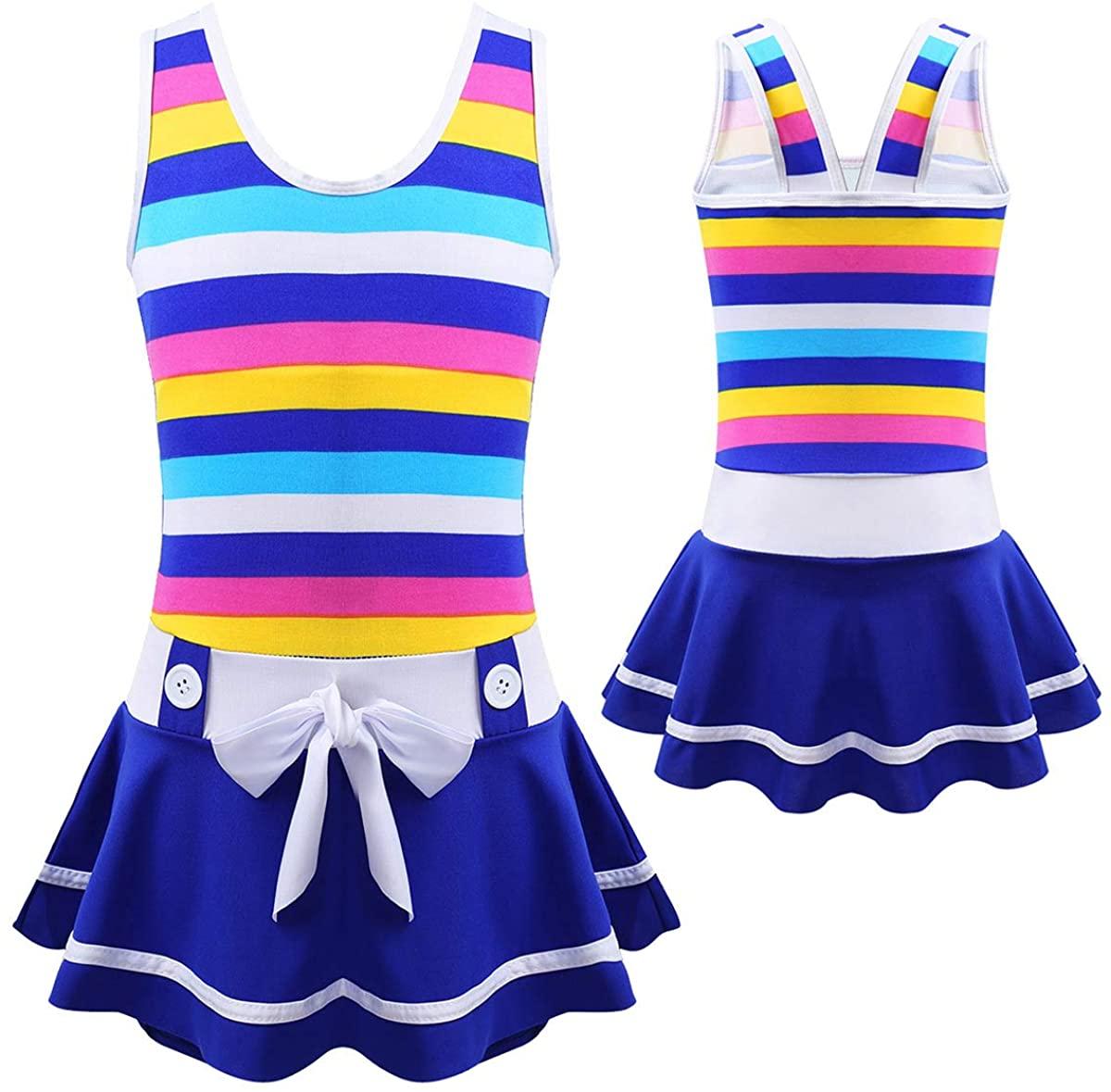 TiaoBug Kids Girls Sleeveless Straps Striped Swimsuit Summer Holiday Bather Bowknot One-Piece Swimwear Set