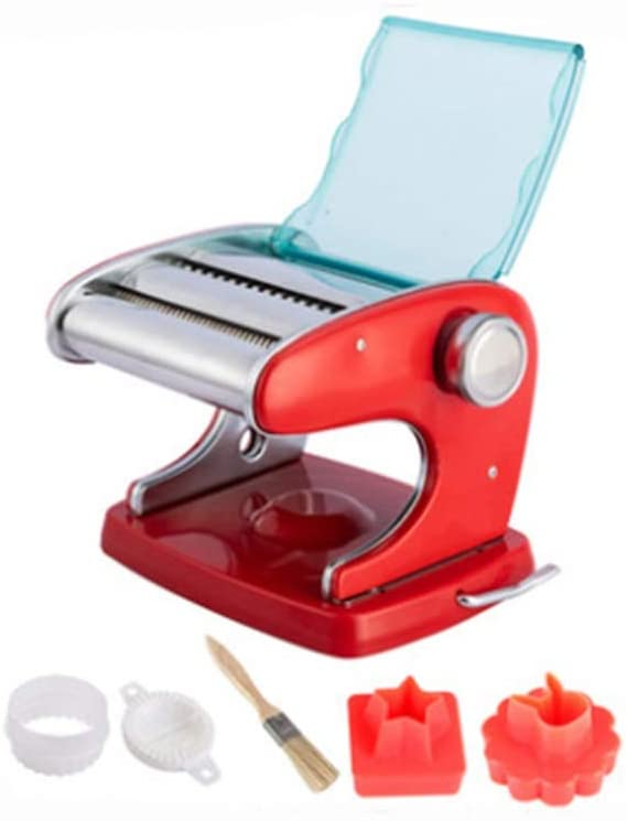NDUMT Household Pasta Machine Manual Pressing Machine Adsorption Chassis Double Fixed Dough Machine Dumpling Skin Ravioli Skin Machine (Color : Red, Size : A)