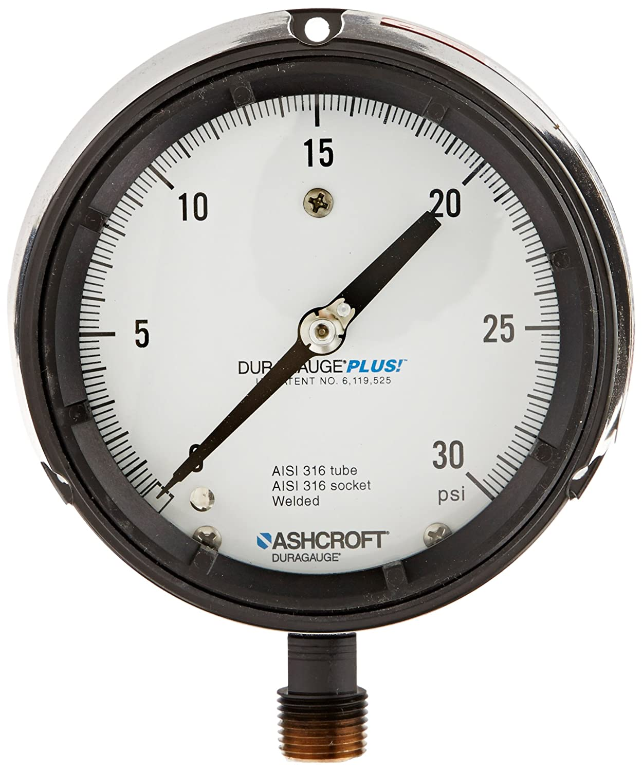 Ashcroft Duragauge Type 1279 Black Phenolic Case Pressure Gauge with PLUS Performance Option, 316 Stainless Steel Bourdon Tube and Tip, 316 Stainless Steel Socket, Solid Front Case, 4.5