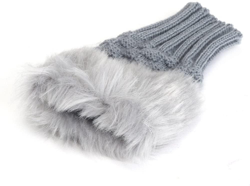 Vedolay Winter Warm Gloves for Women, Womens Girl Warm Winter Faux Rabbit Fur Wrist Fingerless Gloves Mittens
