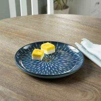 RANG RESHA indigo stamp ceramic dessert plate