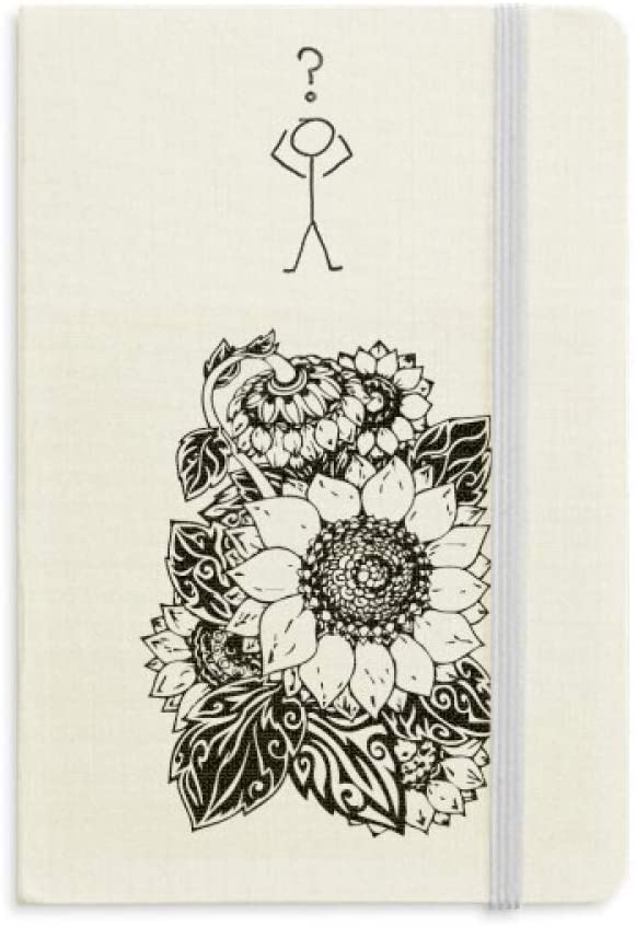 Sunflower Black White Flower Plant Question Notebook Classic Journal Diary A5