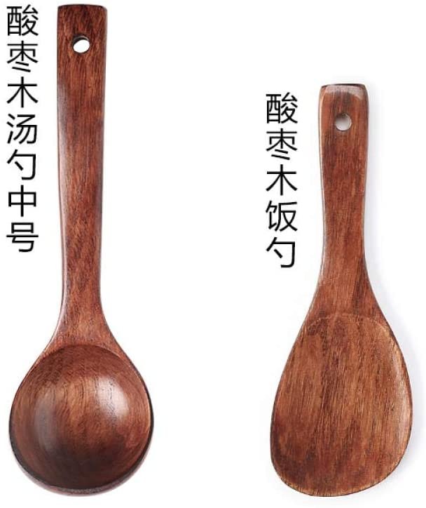 Jujube wood spoon, wooden spoon long handle porridge spoon, porridge spoon, large spoon wooden household, [set of 2] jujube wood soup spoon medium + jujube wooden rice spoon