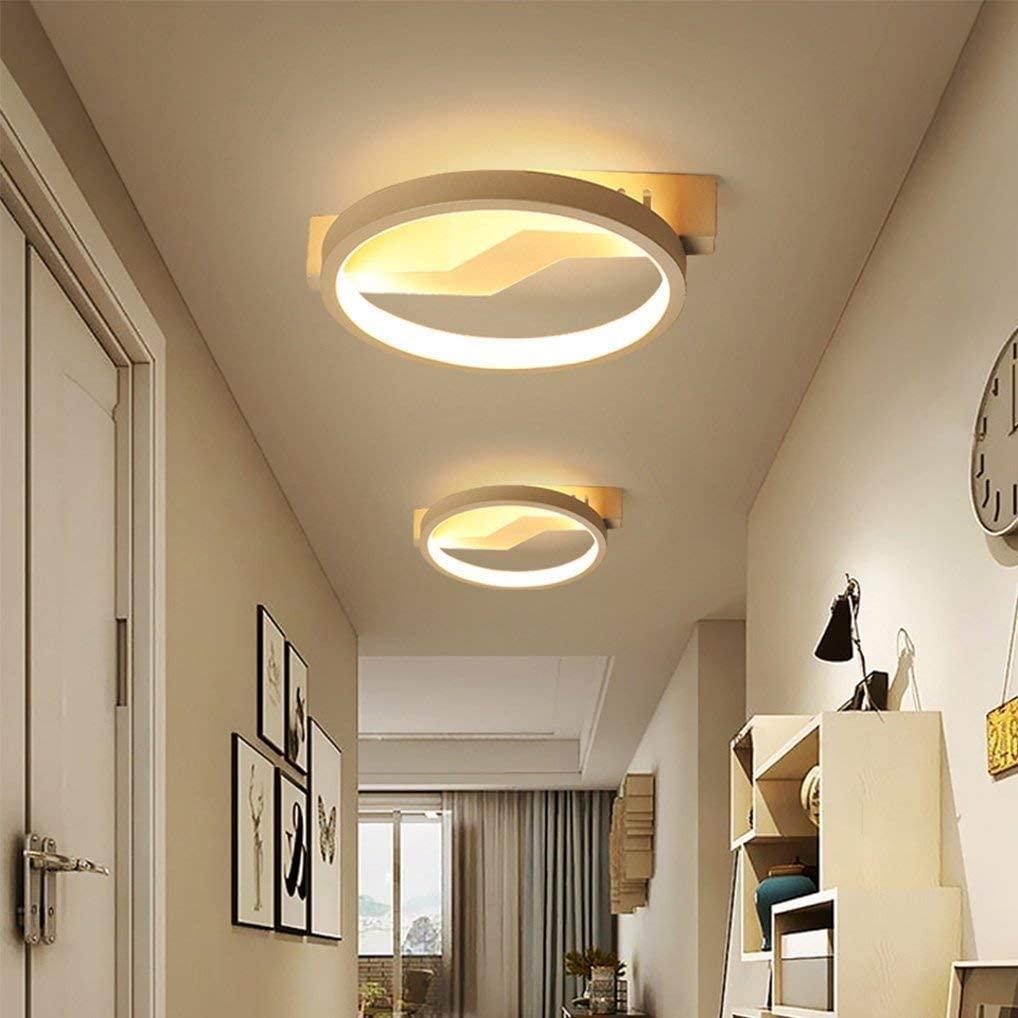 BOSSLV Modern Led Ceiling Lamp Round Design Lamp Aluminum Acrylic Ceiling Lamp 20Cm Simple Creative Aisle Hallway Ceiling Lighting Warm White 3000K, 12W