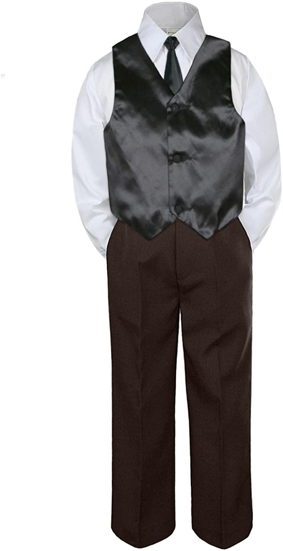 Leadertux 4pc Formal Baby Toddler Boys Black Vest Necktie Brown Pants Suits S-7