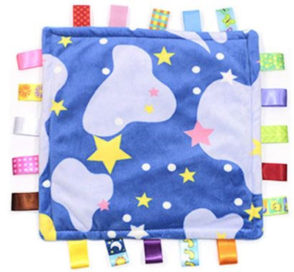Comforting Stars and Clouds Baby Blanket with Satin Tags