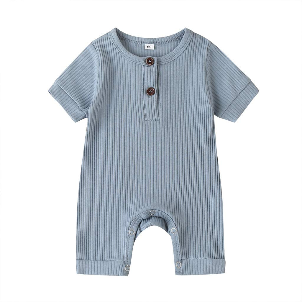kacubwyy Unisex Newborn Baby Boy Girl Knit Romper Button Solid Jumpsuit Summer Bodysuit One Piece Outfits Clothes