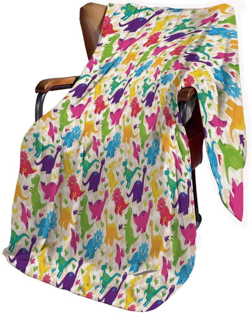 SfeatrutMAT Flannel Microfiber Throw Blanket,Kids,Cute Dinosaurs Pattern Baby Childish Playroom Nursery Toddler Wild Caricature Design,Blanket for Baby 30x40inch