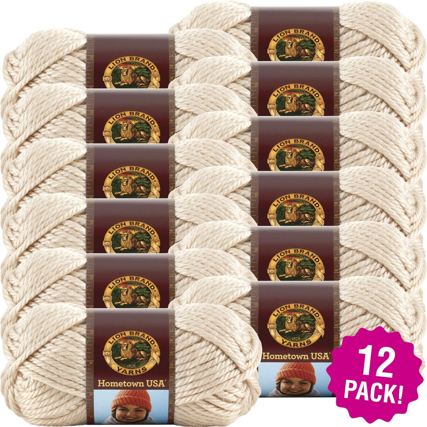 Lion Brand Los Angeles Tan Hometown USA Yarn 12/Pk 12 Pack