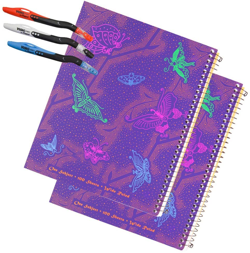 2 Left-Handed Wide Ruled notebooks With Butterfly Design Plus 3 Left-Handed Visio Pens