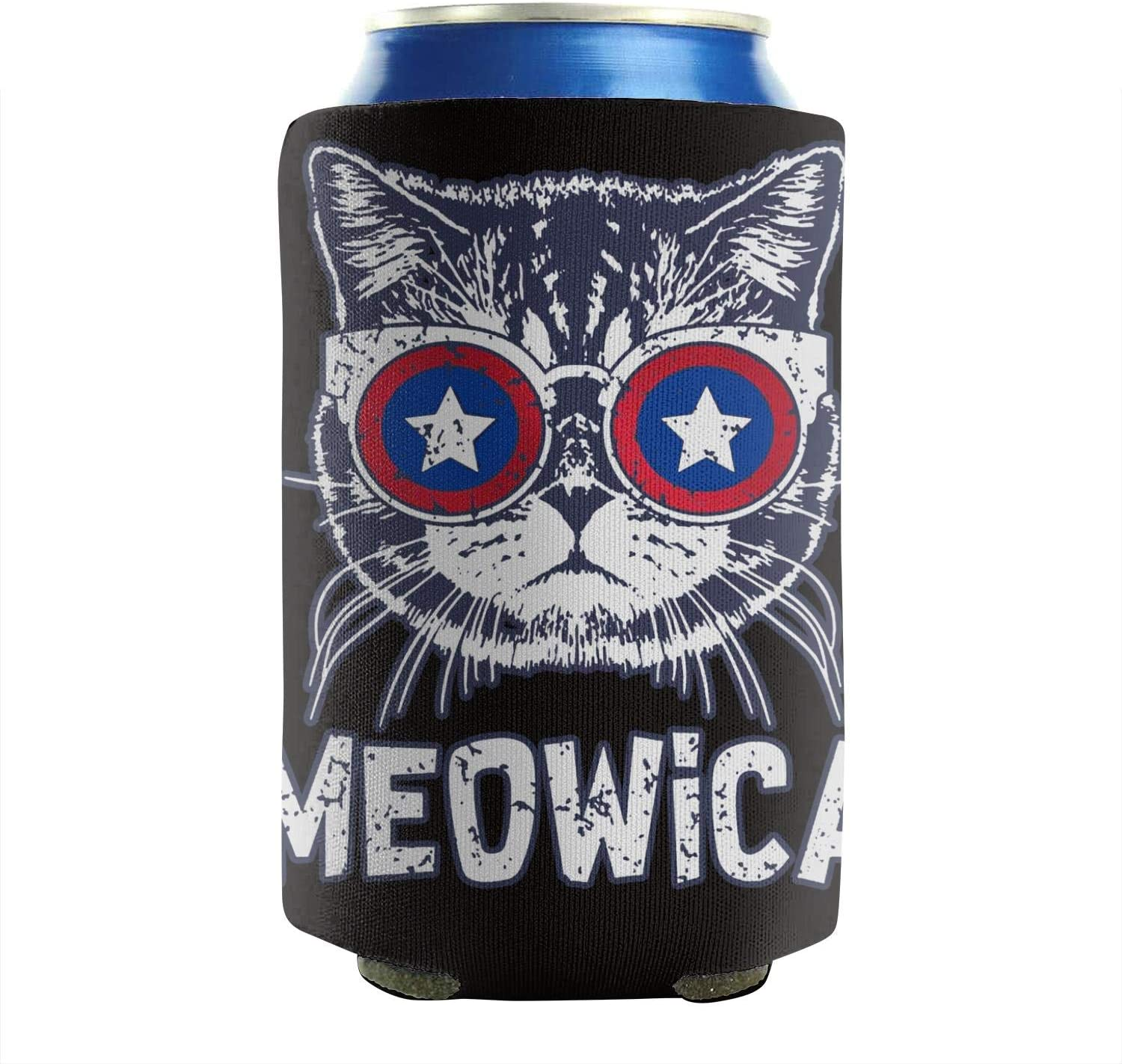 Meowica America Patriot Cat 12-16 OZ Bottles Insulated Beverage Beer Can Sleeves Non-Slip Can Cooler Covers Collapsible Set Of 2 Summer