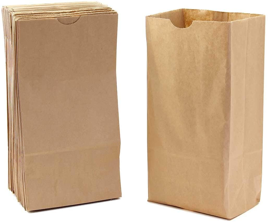 Hygloss Small 100 Brown Paper Gusseted Flat Bottom Lunch Bags-Party Favors, Puppets, Crafts & More, (4.25 x 2.5 x 8 Inch), Natural/Kraft