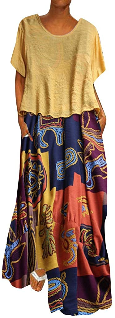 XQXCL Women Autumn Plus Size Dresses Patchwork Two-Piece O-Neck Short Sleeve Print Vintage Maxi Dress Bohemian Skirts