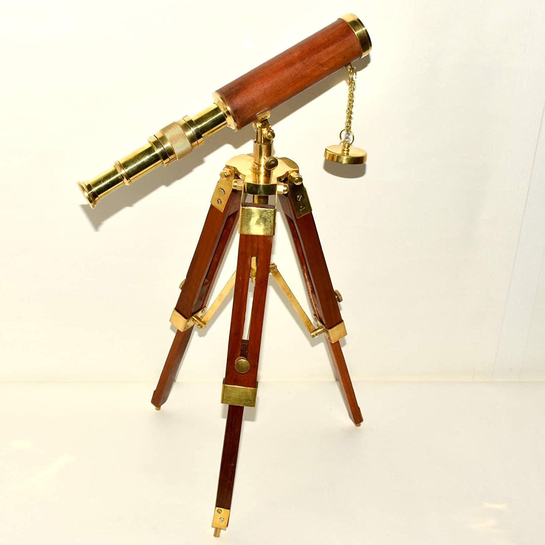 Brass Spyglass Maritime Nautical Telescope With Wooden Tripod Stand Decor.XCRE432