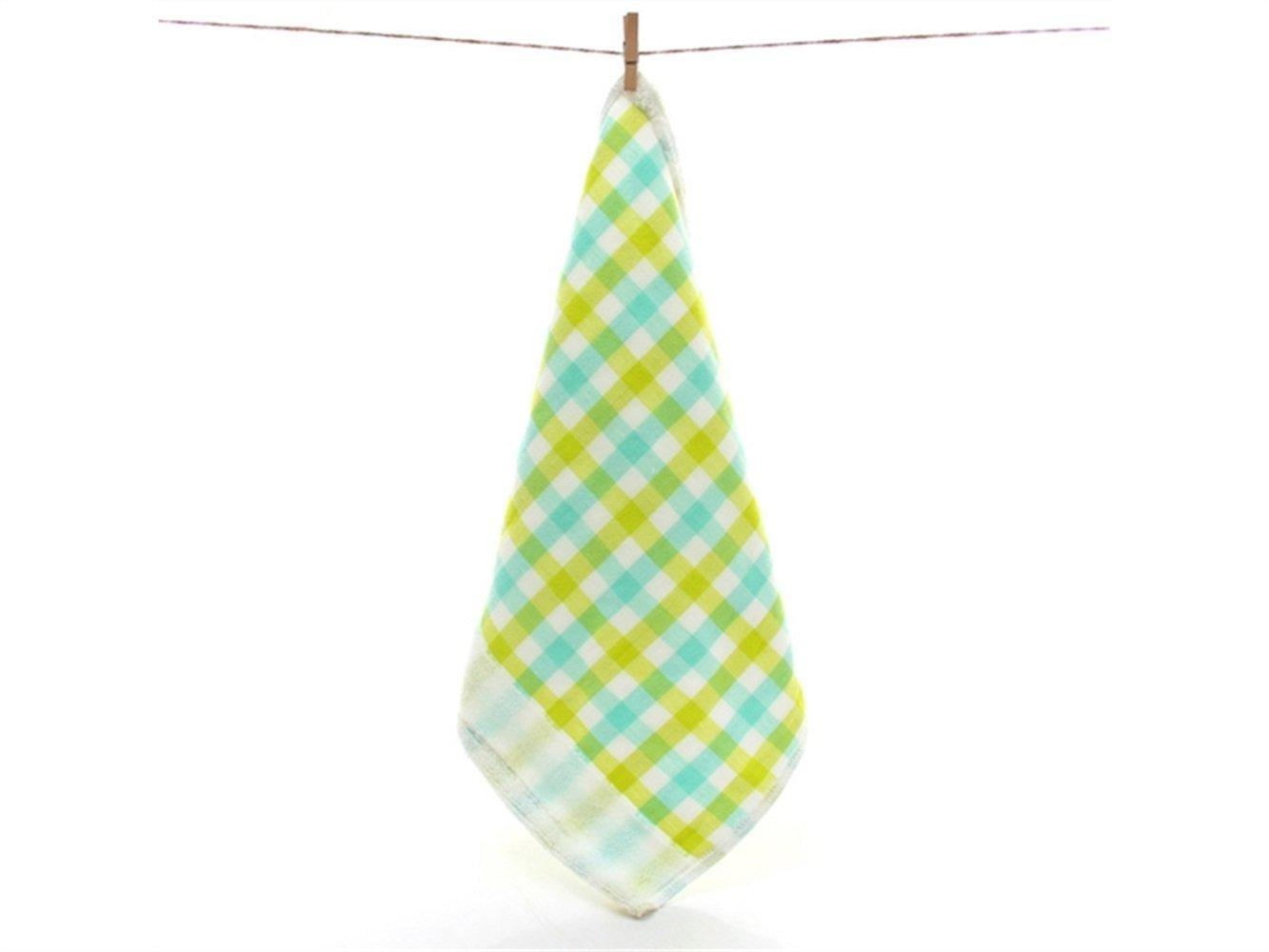 Zhisan Popular Lattice Cotton Baby Saliva Towel Children's Absorbent Wash Face Square Towel(Green)