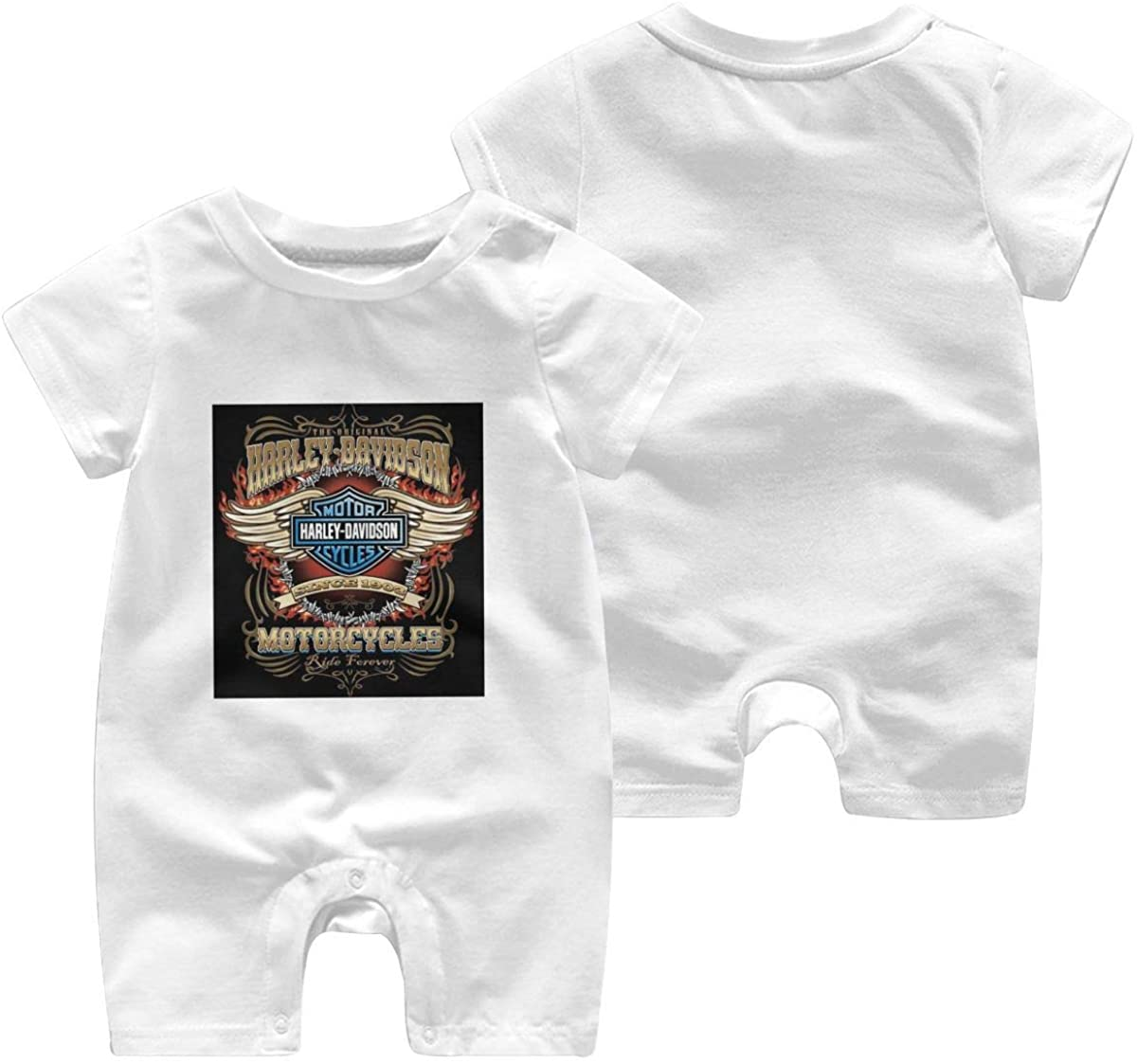 Harley Davidson One Piece Outfits Baby Solid Color Rompers with Button Kids Short Sleeve Playsuit Jumpsuits Cotton Clothing 2t White