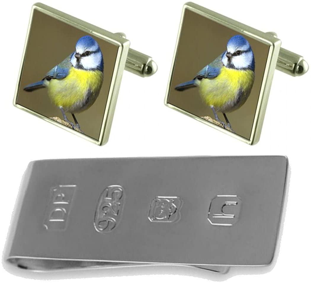 Select Gifts Blue Tit Bird Cufflinks & James Bond Money Clip