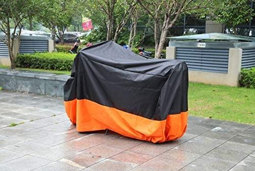 Black & Orange Motorcycle Outdoor UV Protector Motorbike Cover M