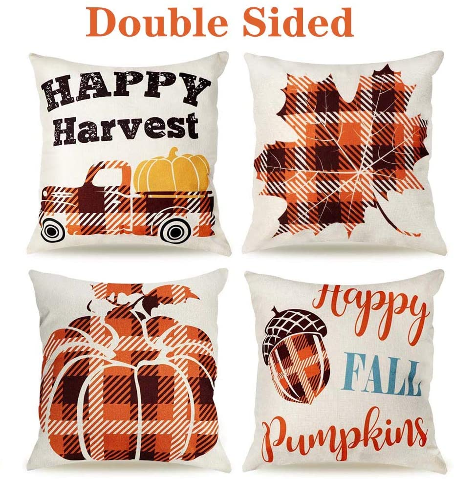 OurWarm Fall Pillow Covers 18 x 18 Inch Set of 4 Double Side Truck Pumpkin Maple Leaves Buffalo Check Plaid Throw Pillow Covers for Fall Thanksgiving Decor Farmhouse Decorative Pillows