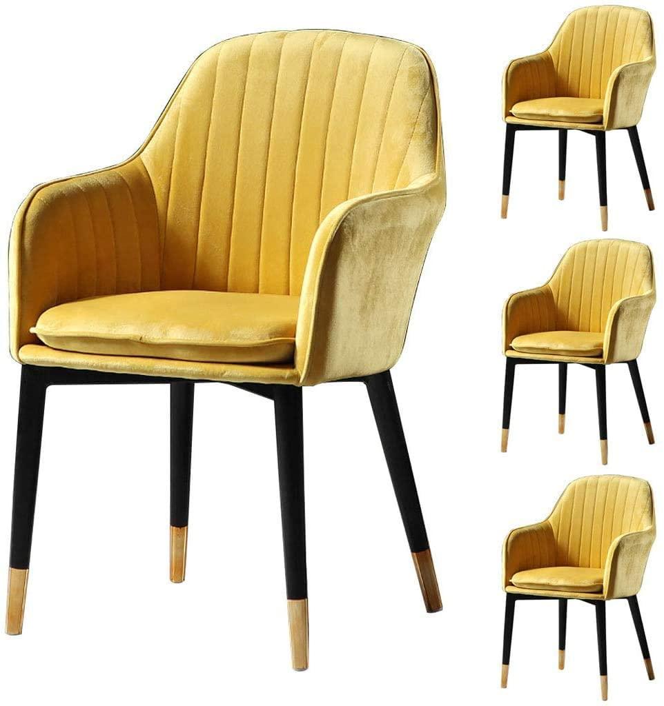 HOMRanger Contemporary Designer Living Room Kitchen Armrest Dining Chair Combination   Padded Seat   Set of 4 Homestay Leisure Backrest Chair,llow