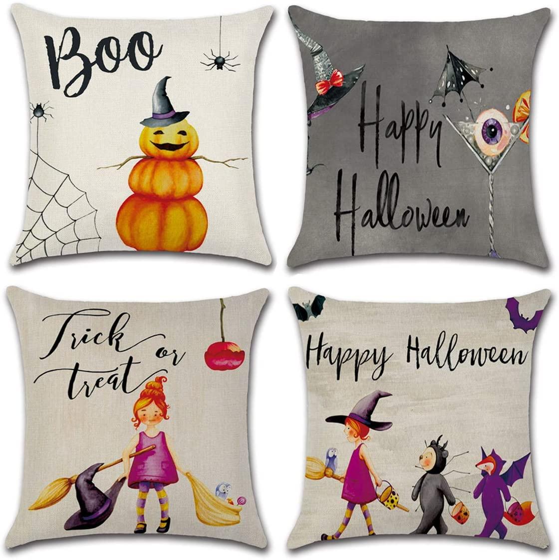 Danirora Halloween Pillow Covers 18x18, [4 Pack] Halloween Decoration Pillows Decorative Linen Throw Pillows Decor Square Burlap with Bat Pumpkin Little Witch Set of 4