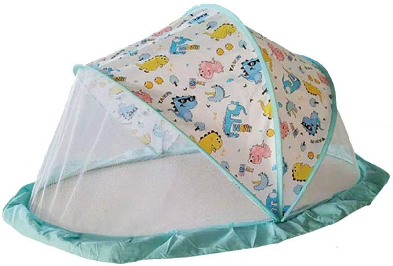 YONG Ultralight Weight Baby Beach Tent Portable Pop Up Cot Mattress Travel Bed Folding Infant Crib Mosquito Net,125 65 63Cm(UV Protection)