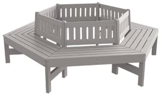 Kirby Built Products Recycled Plastic Tree Bench - with Back - Gray - Gray Frame