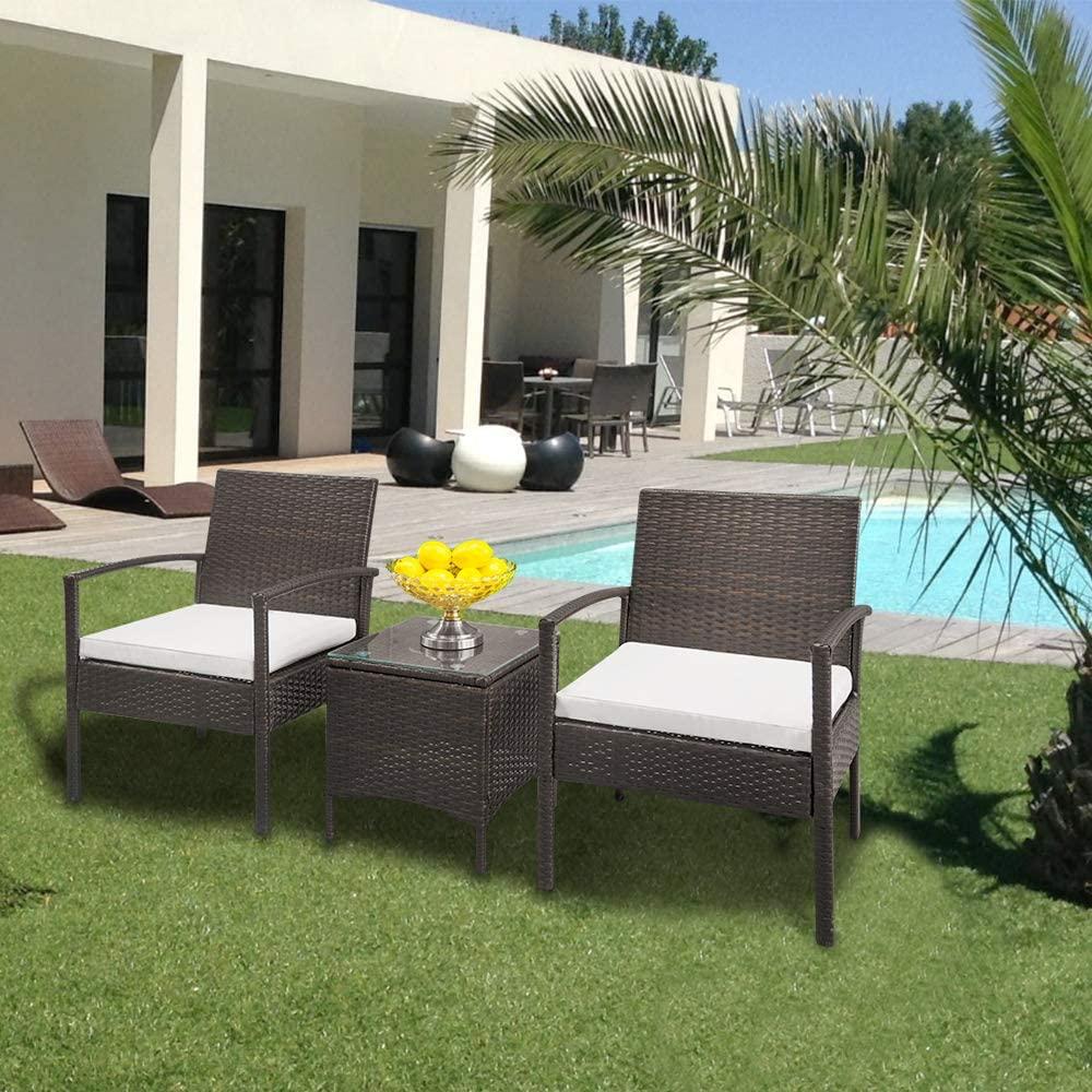 JBOLUN TY-3pcs 2pcs Arm Chairs 1pc Coffee Table Rattan Sofa Set Brown Gradient