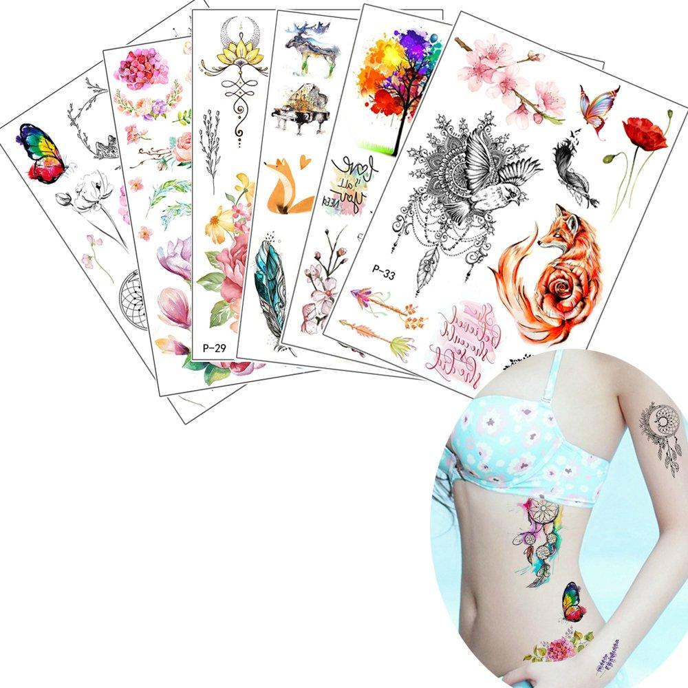 6 Sheets Colored Flower Decal Temporary Body Tattoo Sticker DIY Arm Hand Leg Art