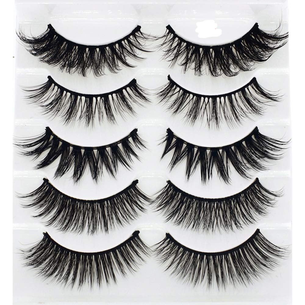 Mixed 3D Mink False Eyelashes Cross Long Thick Flutter Wispy Natural Fake Eye Lashes 100% Handmade Makeup Tools 5 Pairs(B9)