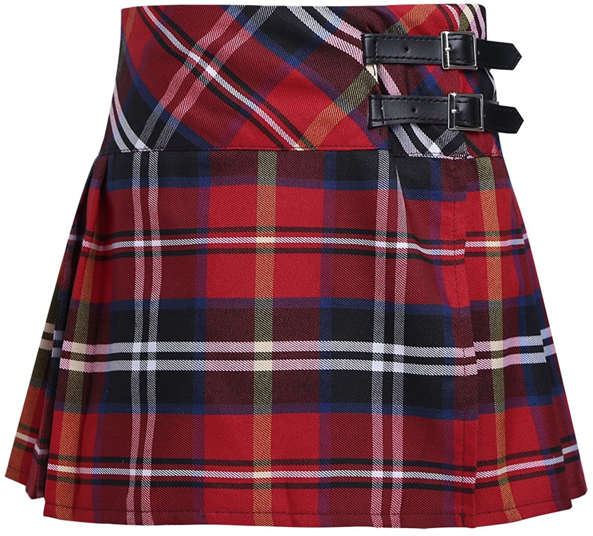 YONGHS Kids Girls Scotland Plaid School Uniform Pleated Side Split Mini Skirt Casual Daily Wear