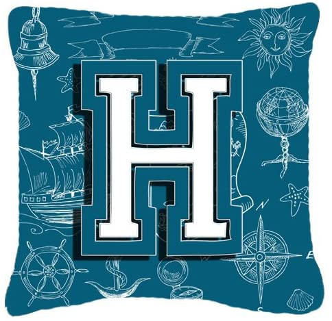 Caroline's Treasures CJ2014-HPW1818 Letter H Sea Doodles Initial Alphabet Canvas Fabric Decorative Pillow, 18H x18W, Multicolor
