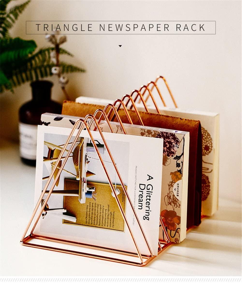 MoCa Steel Newspaper Magazine Holder Document File Stand Journals Magazine Rack Triangle Shape (Rose Gold)