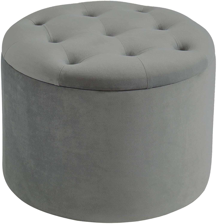 Henley Contemporary Velvet Round Storage Ottoman in Grey