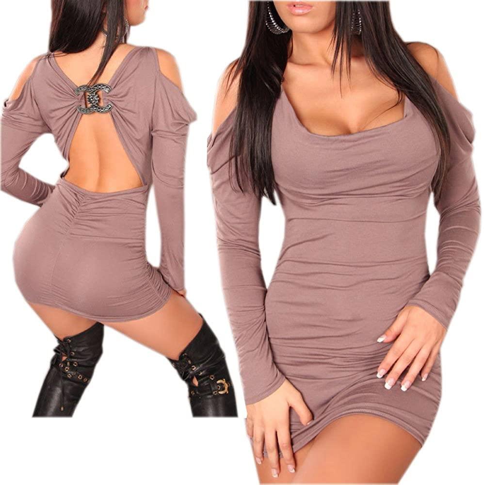 JJ-GOGO Sexy Night Out Clubwear Long Sleeves Cut Out Shoulder Mini Dress
